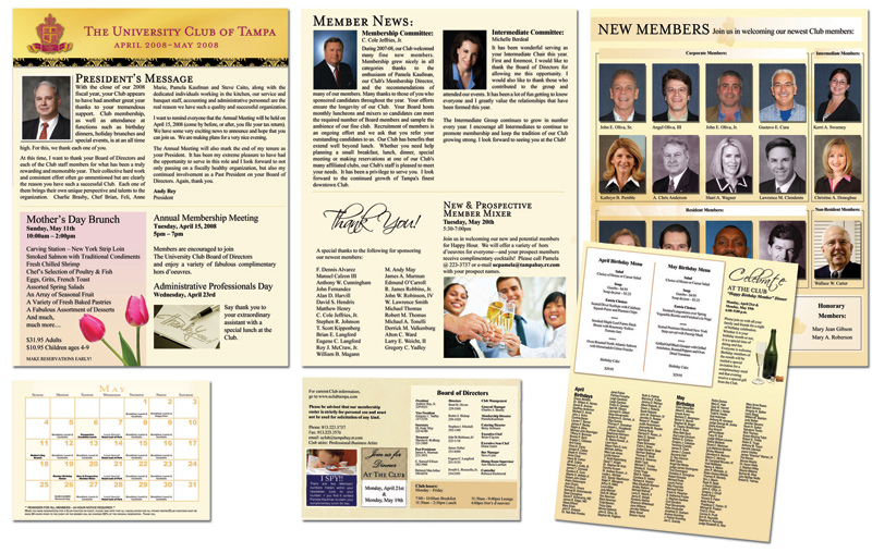 professional newsletter sample for university club of tampa created by kemp design services